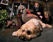 6/29/06 Omaha. NE Susan Buffett and her dog Jack  at her Omaha house..(photo by Chris Machian/Prairie Pixel Group)
