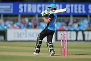 Martin Guptil of Worcestershire Rapids pulls a four during the Natwest T20 Blast North Group match between Derbyshire County Cricket Club and Worcestershire County Cricket Club at the 3aaa County Ground, Derby, United Kingdom on 8 July 2018. Picture by Mick Haynes.
