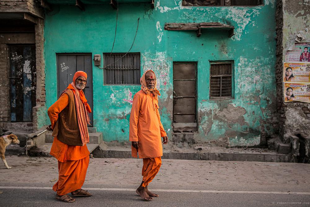 Saddhus walking the morning yatra in Vrindavan. India