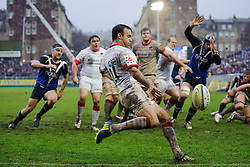 Saracens replacement (#21) Neil de Kock clears during the second half of the match - Photo mandatory by-line: Rogan Thomson/JMP - Tel: Mobile: 07966 386802 22/12/2012 - SPORT - RUGBY - The Recreation Ground - Bath. Bath Rugby v Saracens - Aviva Premiership.