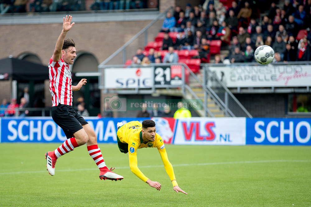 Sander Fischer of Sparta Rotterdam, Bjorn Johnsen of ADO Den Haag during the Dutch Eredivisie match between Sparta Rotterdam and ADO Den Haag at the Sparta stadium Het Kasteel on March 04, 2018 in Rotterdam, The Netherlands