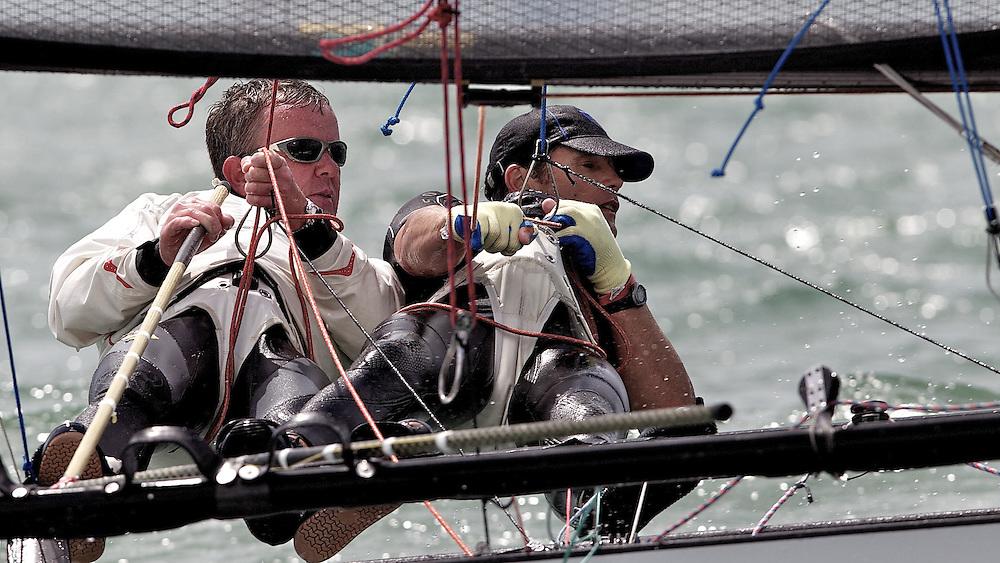 ENGLAND, Hayling Island, 17th July 2010, International 14 POW Week, POW Cup. Martin Jones and Zeb Elliot.