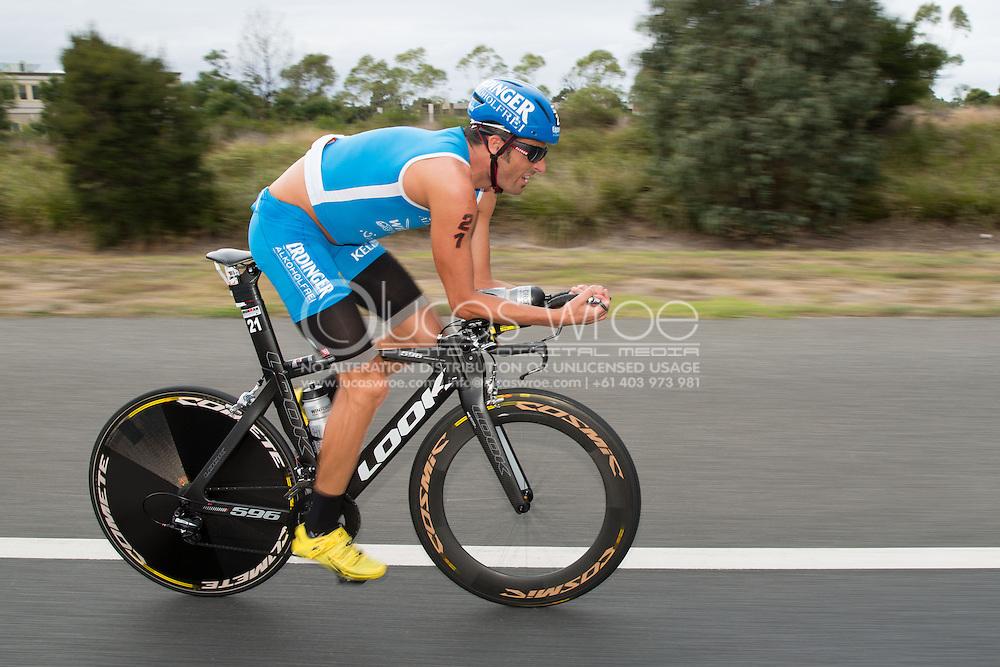 Mike Aigoz (SUI), March 23, 2014 - Ironman Triathlon : Bike Course. Ironman Melbourne Race, Bike Cycle Course Between Frankston And Ringwood Tunnel, Melbourne, Victoria, Australia. Credit: Lucas Wroe