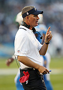San Diego Chargers head coach Mike McCoy points as he calls out from the sideline during the NFL week 6 football game against the Indianapolis Colts on Monday, Oct. 14, 2013 in San Diego. The Chargers won the game 19-9. ©Paul Anthony Spinelli
