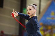 Polina Khonina  is a Russian individual rhythmic gymnast was born December 15, 1998 in Kirov. She is doing warming up in the Italian championship in Padova.