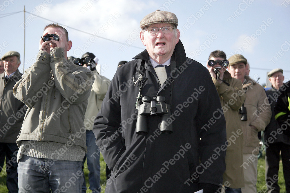 Francie Kenny watching the second race at the Killaloe point to point last Saturday.<br /> <br /> Photograph by Yvonne Vaughan.