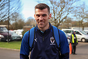 AFC Wimbledon attacker Adam Roscrow (10) arriving for the game during the EFL Sky Bet League 1 match between AFC Wimbledon and Fleetwood Town at the Cherry Red Records Stadium, Kingston, England on 8 February 2020.