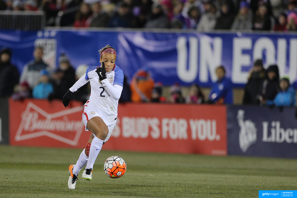 Mallory Pugh, USA, in action during the USA Vs Colombia, Women's International friendly football match at the Pratt & Whitney Stadium, East Hartford, Connecticut, USA. 6th April 2016. Photo Tim Clayton