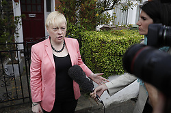 © Licensed to London News Pictures. 11/07/2016. London, UK. Labour leadership challenger Angela Eagle MP talks to reporters as she leaves home. Later Ms Eagle will launch her leadership bid against Jeremy Corbyn. Photo credit: Peter Macdiarmid/LNP