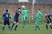 04/05/2018 - Hilltown Hotspurs (green) v Park Tool (blue and yellow) in the Dundee Saturday Morning Football League Ross Kirk Memorial Cup Final at North End Park, Dundee, Picture by David Young -