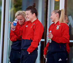 SOUTHAMPTON, ENGLAND - Friday, April 6, 2018: Wales' Hayley Ladd and Charlie Estcourt during a pre-match walk at the Marriott Meon Valley Hotel & Country Club ahead of the FIFA Women's World Cup 2019 Qualifying Round Group 1 match between England and Wales. (Pic by David Rawcliffe/Propaganda)