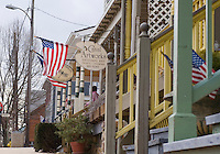 Chesapeake City, Maryland, tourist and gift  shops line the the side of Bohemia Avenue. The town, on the banks of the Chesapeake and Delaware Canal, subsequently grew in response to the needs of the canal operations and commerce  In 1849 with a population of 400 the town incorporated. It is now a quaint tourist destination on Maryland's Eastern Shore..