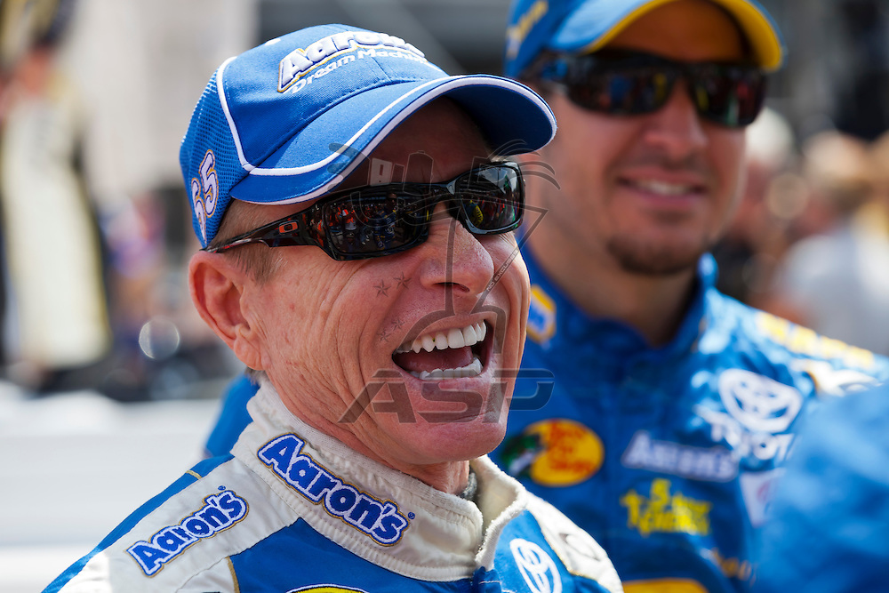 INDIANPOLIS, IN - JUL 29, 2012:  Mark Martin (55) talks with the media before the Curtiss Shaver 400 presented by Crown Royal at the Indianapolis Motor Speedway in Indianapolis, IN.
