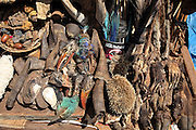 Traditional medicine on sale in a Bamako Marketplace, Mali. It sells allsorts of products from Monkey's feet, bird's heads, horns, and hedgehogs to shells and feathers.