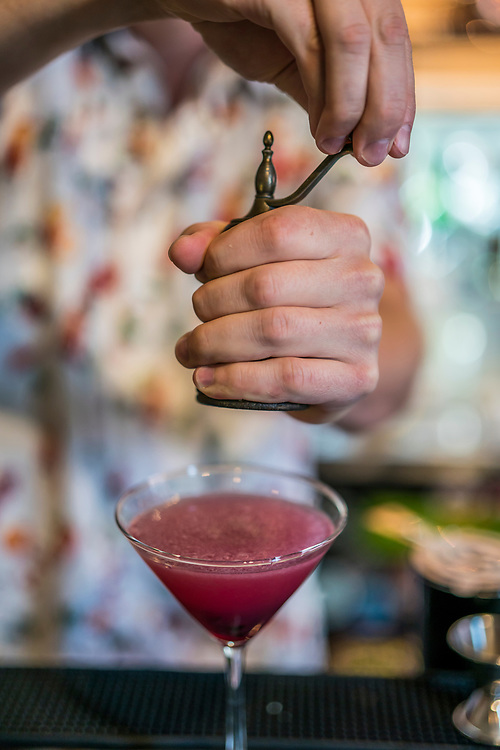 Mixing cocktails at Steinhaus Restaurant in Marquette, Michigan