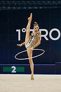 """Sofia Maffeis during the """"1st Trofeo Citta di Monza"""" tournament. On this occasion we have seen the rhythmic gymnastics teams of Belarus and Italy challenge each other. The Bilateral period was only June 9, 2019 at the Candy Arena in Monza, Italy."""