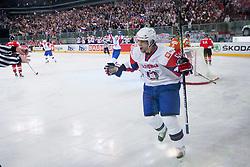 David Rodman of Slovenia celebrates during ice-hockey match between Slovenia and Hungary at IIHF World Championship DIV. I Group A Slovenia 2012, on April 18, 2012 in Arena Stozice, Ljubljana, Slovenia.  (Photo by Vid Ponikvar / Sportida.com)