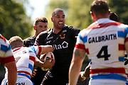 Bradford Bulls winger Omari Caro (18) in action during the Kingstone Press Championship match between Rochdale Hornets and Bradford Bulls at Spotland, Rochdale, England on 18 June 2017. Photo by Simon Davies.