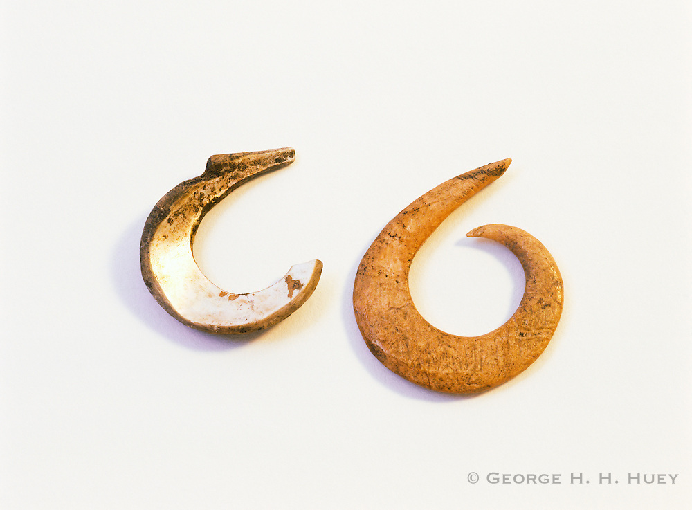 0603-7002B ~ Copyright:  George H. H. Huey ~ Historic Chumash Indian fishhooks made from abalone shell and deer bone. California.
