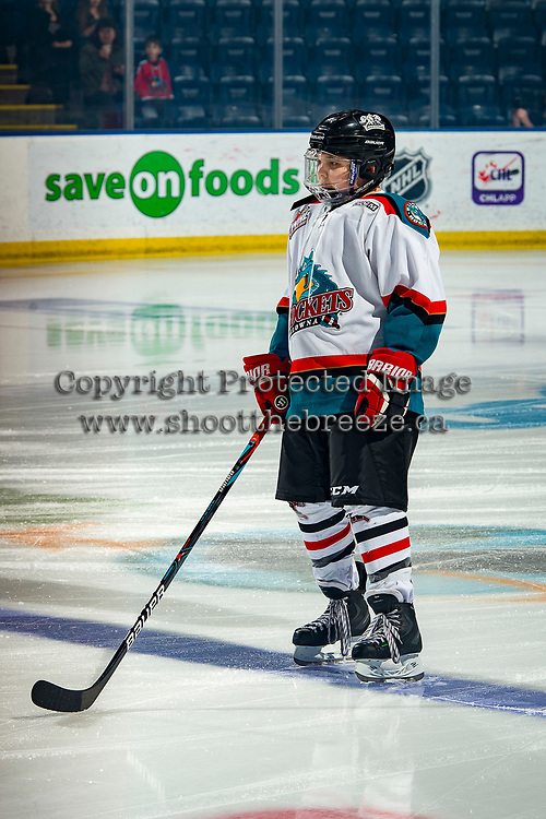 KELOWNA, BC - FEBRUARY 7: Dom Ashbee stands on the blue line as the Pepsi Player of the Game at the Kelowna Rockets against the Portland Winterhawks at Prospera Place on February 7, 2020 in Kelowna, Canada. (Photo by Marissa Baecker/Shoot the Breeze)