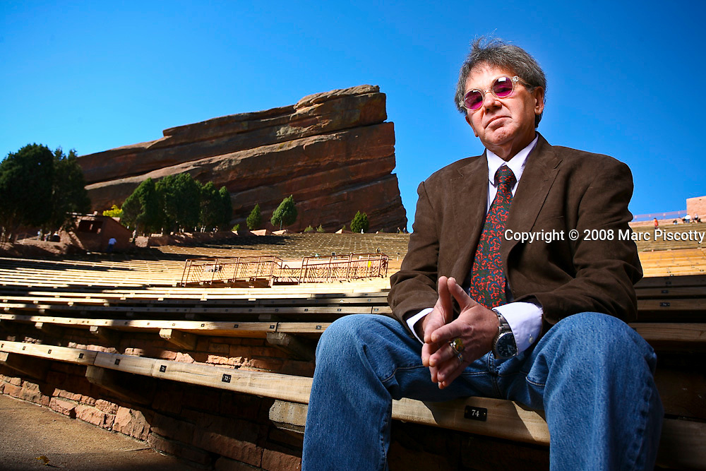 SHOT 10/29/08 9:57:14 AM - AEG Live president and CEO of the Rocky Mountain Region Chuck Morris poses for a portrait at Red Rocks in Morrison, Co. Morris opened and operated legendary venues such as Tulagi's, Ebbets Field and the Fillmore Auditorium in Denver. Morris was also in charge of entertainment for the 2008 Democratic National Convention. .(Photo by Marc Piscotty / © 2008)