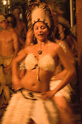 Chile, Easter Island:  The Kari Kari dance troupe dances at the Hotel Hanga Roa in Hanga Roa.  Easter Island and South Pacific dance styles..Photo #: ch327-33025.Photo copyright Lee Foster www.fostertravel.com lee@fostertravel.com 510-549-2202
