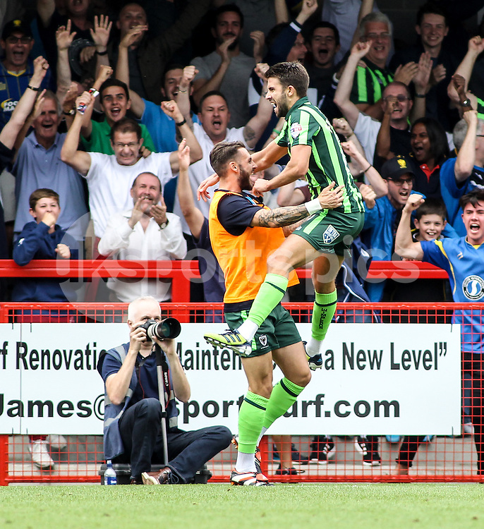 George Francomb of AFC Wimbledon celebrates during the Sky Bet League 2 match between Crawley Town and AFC Wimbledon at the Checkatrade.com Stadium, Crawley, England on 15 August 2015. Photo by Ken Sparks.