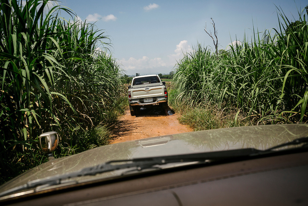 Francois Nosten and SMRU staff driving in convoy towards a crossing by the Moei river to visit a survey clinic in Myanmar.