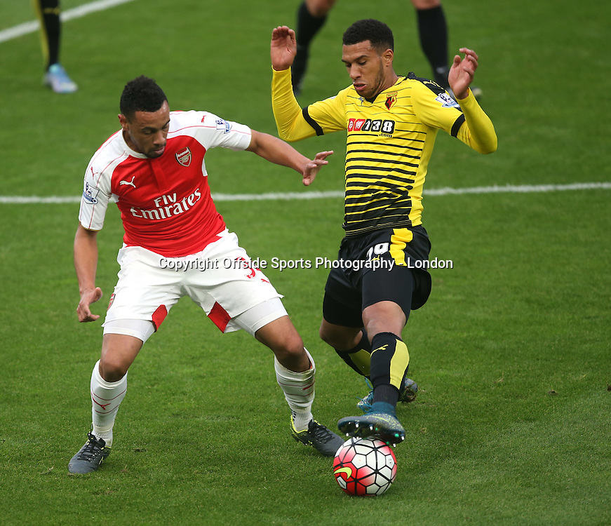 17 October 2015 Premier League Football; Watford v Arsenal :     Francis Coquelin of Arsenal and Etienne Capoue of Watford.<br /> Photo: Mark Leech