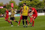 John McCoombe has a shot during the Friendly match between Harrogate Town and York City at Wetherby Road, Harrogate, United Kingdom on 25 July 2015. Photo by Simon Davies.