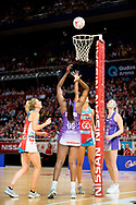 SYDNEY, AUSTRALIA - AUGUST 24: Romelda Aiken of the Queensland Firebirds takes a shot during the round 14 Super Netball match between the Swifts and the Queensland Firebirds at Qudos Bank Arena on August 24, 2019 in Sydney, Australia.(Photo by Speed Media/Icon Sportswire)