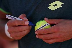 May 6, 2018 - Estoril, Portugal - Joao Sousa of Portugal signs a ball after winning the Millennium Estoril Open ATP 250 tennis tournament final against Frances Tiafoe of US, at the Clube de Tenis do Estoril in Estoril, Portugal on May 6, 2018. (Joao Sousa won 2-0) (Credit Image: © Pedro Fiuza/NurPhoto via ZUMA Press)