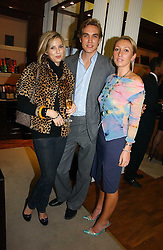 Left to right, ALEXANDRA FINLAY, FREDDIE SAYERS and JOSIE GOODBODY at a party to celebrate the 10th anniversary of the Smythson Fashion Diary and to the launch of the 2007 Limited Edition held at Smythson, New Bond Street, London on 25th October 2006.<br />