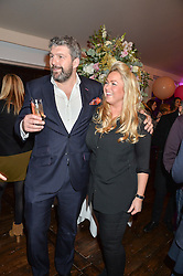 ANDY NEWMAN and SINCLAIR SELLARS  at a party to celebrate the new partnership of Maids to Measure with Touker Suleyman held in The Winter Marquee, Home House, 20 Portman Square, London on 2nd March 2016.