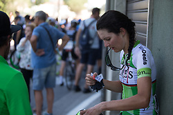 Daniela Reis (POR) of Lares Waowdeals Cycling Team cools down after Stage 9 of the Giro Rosa - a 122.3 km road race, between Centola fraz. Palinuro and Polla on July 8, 2017, in Salerno, Italy. (Photo by Balint Hamvas/Velofocus.com)