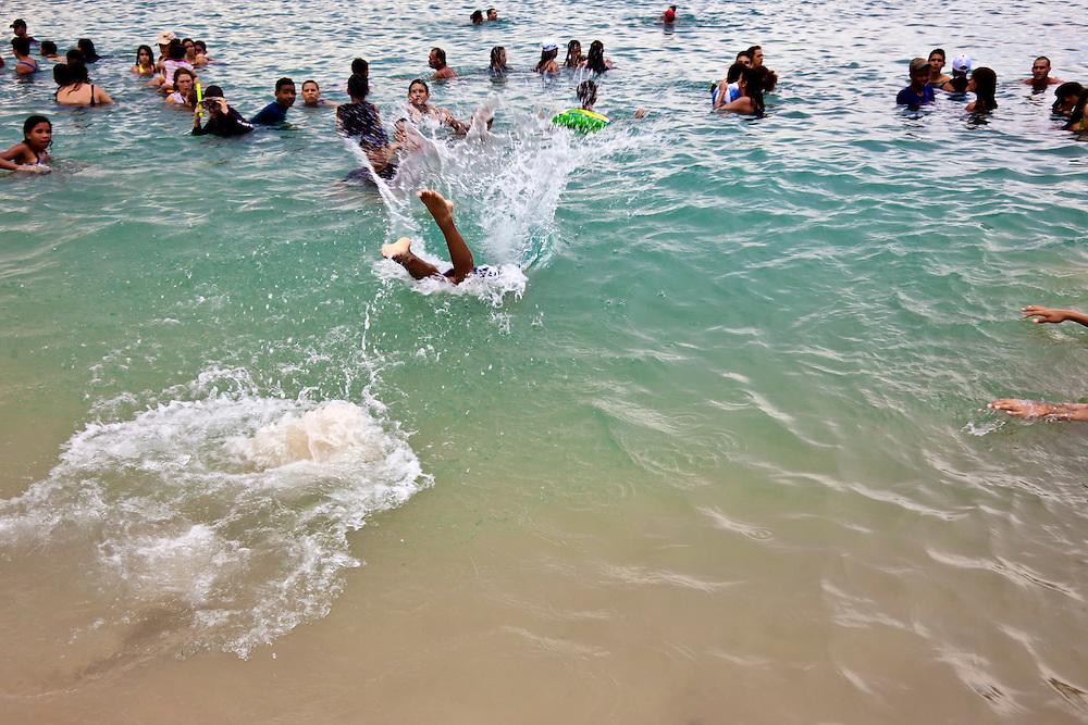 Swimming at Playa Blanca, Holguin, Cuba.