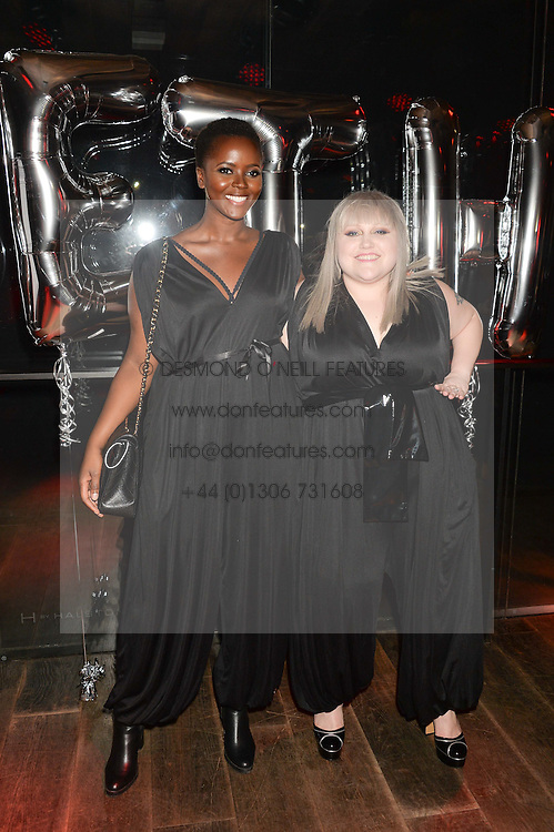 Left to right, PHILOMENA KWAO and BETH DITTO at a party to celebrate the launch of the Beth Ditto Clothing Line held at The London Edition, Berners Street, London on 18th February 2016.