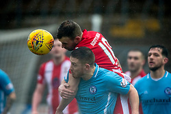 East Fife's Kevin Smith over Forfar Athletic's John Baird . Forfar Athletic 3 v 0 East Fife, Scottish Football League Division One game played 2/3/2019 at Forfar Athletic's home ground, Station Park, Forfar.