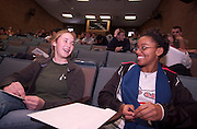 1679858th American History High School Scholarship Competition in Morton Hall..Kate Hattemer(left) and Taylor Roberts(right) from Walnut Hills H.S., Cincinnati. participate in 58th American History High School Scholarship Competition in Morton Hall