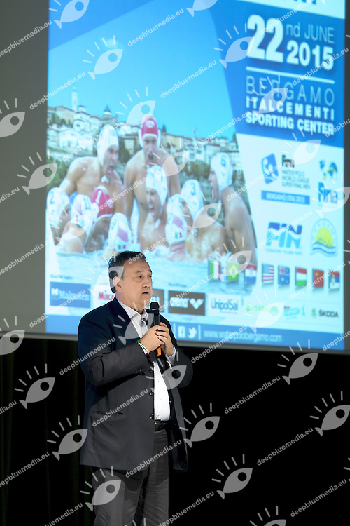 Paolo Barelli FIN President<br /> Opening Ceremony<br /> day 00 - 22/06/2015<br /> FINA Water Polo World League Superfinal Men<br /> Bergamo (ITA) 23-28 June 2015<br /> Photo G.Scala/Deepbluemedia