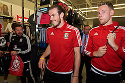CARDIFF, WALES - Thursday, June 2, 2016: Wales' Gareth Bale and Chris Gunter during a visit to a JD Sports store in Llantrisant. (Pic by Ian Cook/Propaganda)