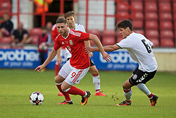 WREXHAM, WALES - Friday, September 2, 2016: Wales' Wesley Burns in action against Denmark's Christian Norgaard during the UEFA Under-21 Championship Qualifying Group 5 match at the Racecourse Ground. (Pic by Paul Greenwood/Propaganda)
