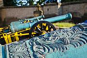 Festung Königstein, Kanone, Elbsandsteingebirge, Sächsische Schweiz, Sachsen, Deutschland.|.Fortress Koenigstein, canon, Saxon Switzerland, Saxony, Germany.