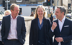 Pictured: Tim Farron,  Hal Osler, candidate for the Stockbridge ward and Alex Cole-Hamlton<br /> Liberal Democrat leader Tim Farron MP visited Edinburgh today and joined local MSP Alex Cole-Hamilton and council candidates to campaign in the upcoming council election in StockbridgeGer Harley | EEm 13 April 2017