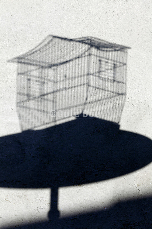empty birdcage shadow on a table