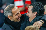 Arsenal Head Coach Unai Emery greets Eintracht Frankfurt Head Coach Adi Hutter before the Europa League match between Arsenal and Eintracht Frankfurt at the Emirates Stadium, London, England on 28 November 2019.