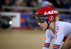 Elinor Barker of Great Britain before the Women's Omnium Tempo Race 2/4 during day two of the Tissot UCI Track Cycling World Cup at Lee Valley VeloPark, London.