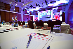 NEWPORT, WALES - Friday, May 29, 2015: The conference room before the Football Association of Wales' National Coaches Conference 2015 at the Celtic Manor Resort. (Pic by David Rawcliffe/Propaganda)