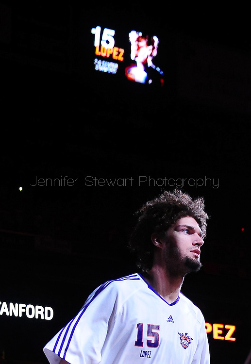 May 25, 2010; Phoenix, AZ, USA; Phoenix Suns center Robin Lopez (15) is introduced prior to game four of the western conference finals in the 2010 NBA Playoffs at US Airways Center.  The Suns defeated the Lakers 115 - 106.    Mandatory Credit: Jennifer Stewart-US PRESSWIRE