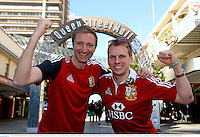 22 June 2013; British & Irish Lions supporters Dermot McNamara, from Limerick City, left, and Johnny Holmes, from Foxrock, Dublin, in Brisbane ahead of the game. British & Irish Lions Tour 2013, 1st Test, Australia v British & Irish Lions. Brisbane, Queensland, Australia. Picture credit: Stephen McCarthy / SPORTSFILE